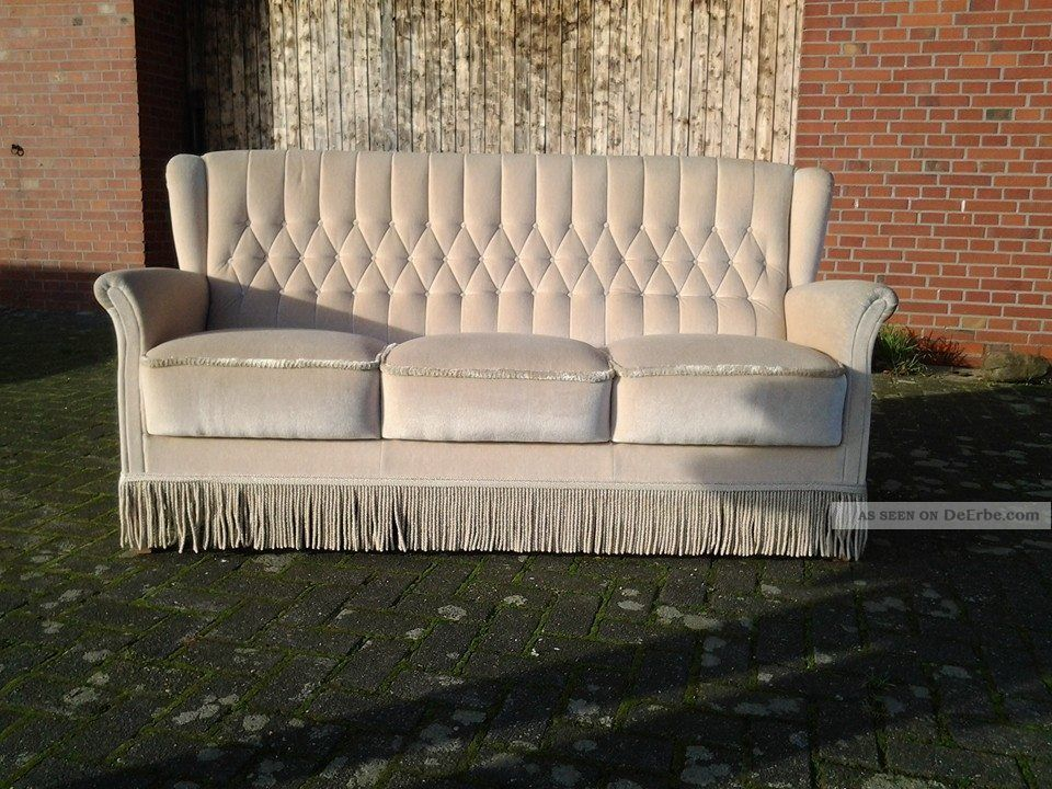 Sofa Jugendstil Chesterfield Chair Couch / Sofa 50er Jahre Mit Fransen