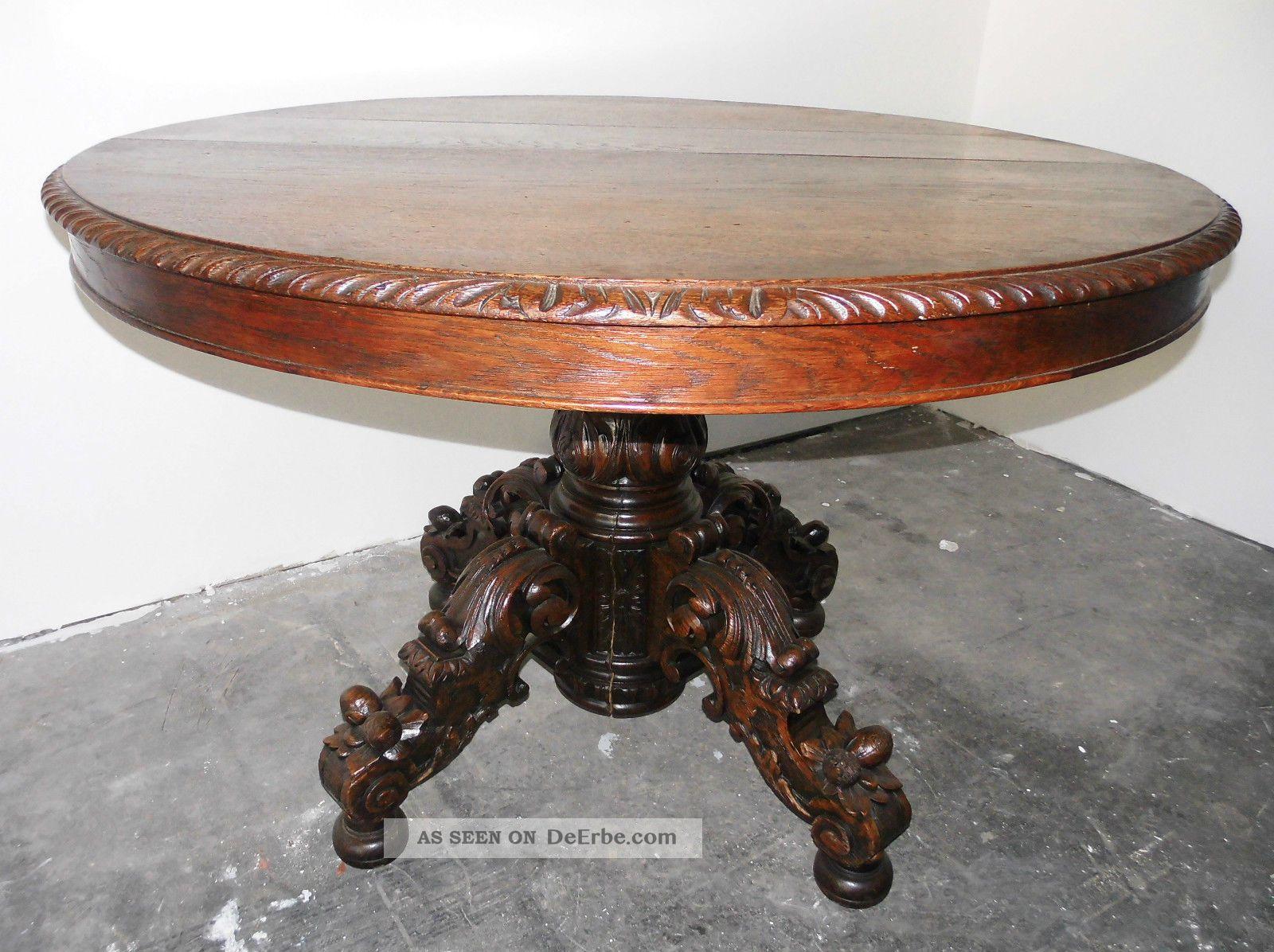 Antiker Tisch Gr252;nderzeit Jagd Eiche Voll Massiv Ausziehbar