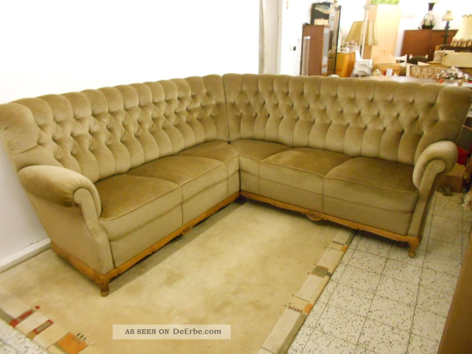 Chesterfield Sessel Weiss Sofa Couch Ecksofa Chippendale Stil Chesterfield Stil Grün
