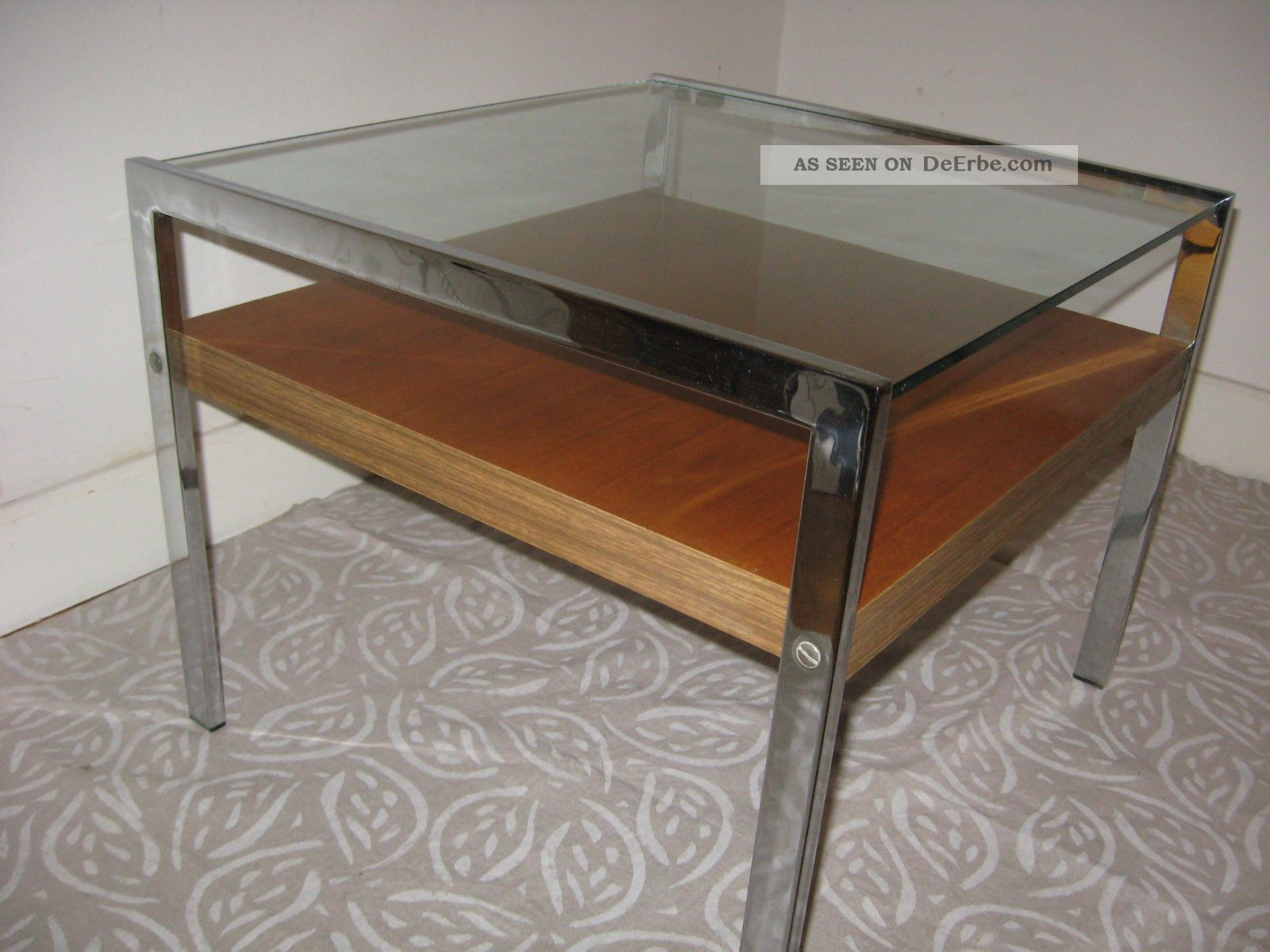 Couchtisch Coffee Couchtisch Coffee Table Teak Chrom Glas Mid Century 60er 70er