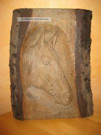 Pferdekopf Holz Schnitzerei Wandbild Relief Kunst