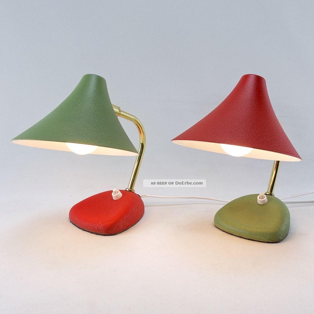 Schlafzimmer Lampe 50er  Altes Paar Tischlampen 50s Lampe Rot Gr220;n 50er Vintage