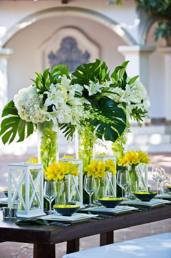 Round Chandelier 2018 Trend: Tropical Leaf Greenery Wedding Decor Ideas
