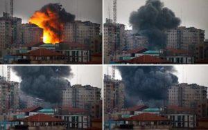 أساليب عنيفة: هذه الصور توضح مبنى سكني يجري ضربه بالصواريخ قبل أن ينهار خلال غارة جوية إسرائيلية في قلب مدينة غزة في يوم 23 أغسطس. ويقول مسؤولون في الجيش الإسرائيلي أن مثل هذه الأساليب ناتجة عن عملية وقف إطلاق النار الأخيرة. (محمد عثمان / إيه إف بي/ موقع جيتي إيميدجز)