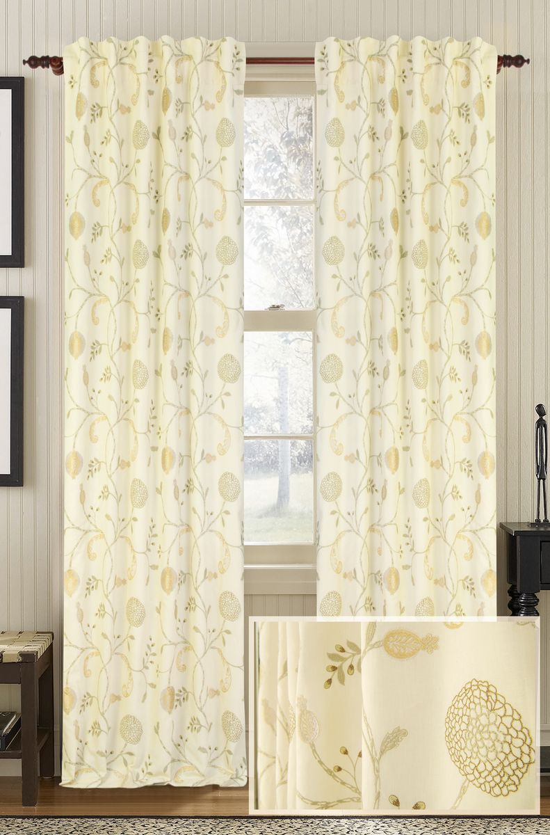 Cotton Curtain Panels Muriel Kay Chantilly Drapery Panel