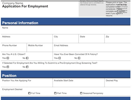 Free Printable Application For Employment Template - Business Card