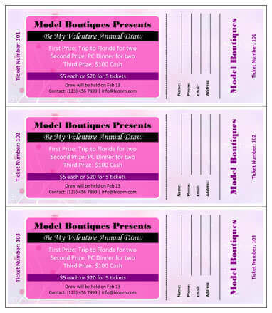 Printable Event Tickets Template Free - Business Card - Website