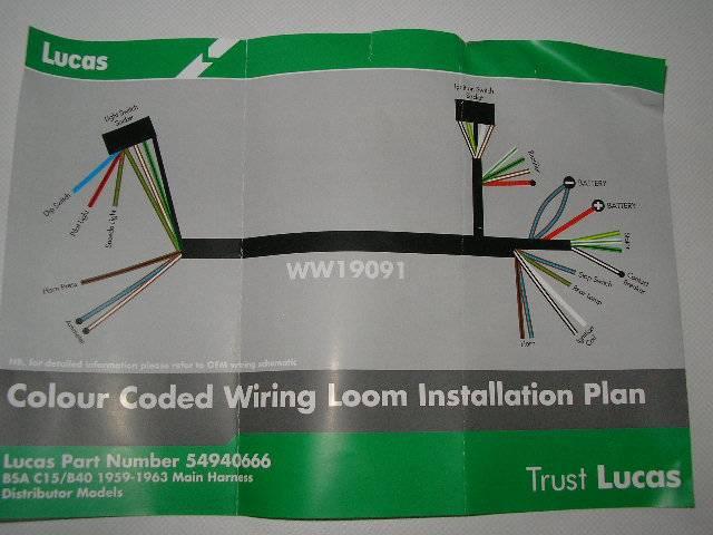 Lucas Wiring Harness Bsa C15 B40 1959 1963