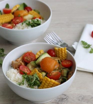 Vegane Reispfanne Süß-Sauer Gedeckter Tisch Dein HomeSpa