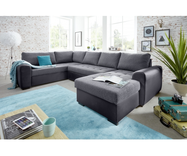 Couchgarnituren Sale Molly-3s.2f.rec/bk Grau Couchgarnitur Sofa Wohnzimmercouch ...