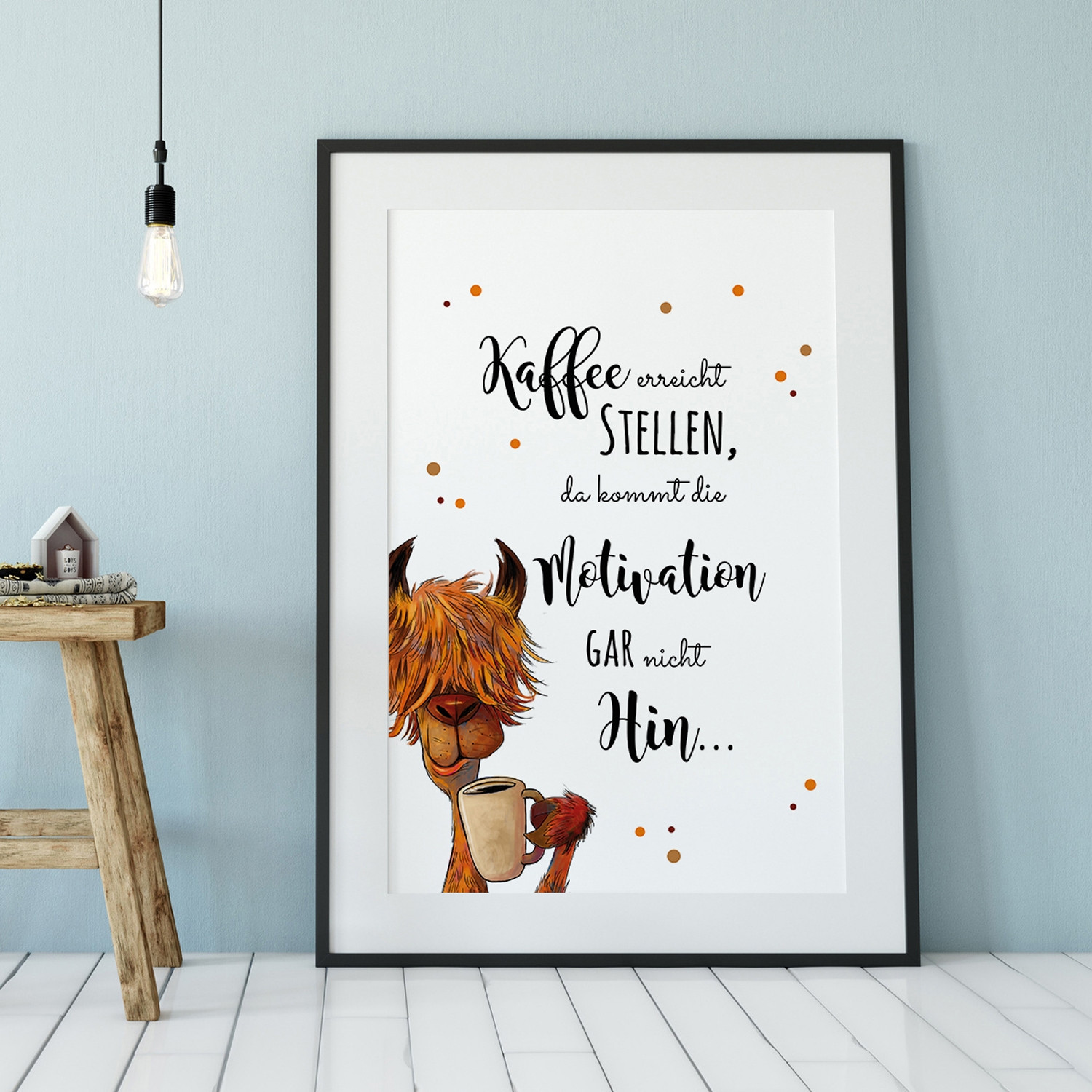 Sprüche Poster A3 Print Llama Illustration Poster Placard With Quote Saying