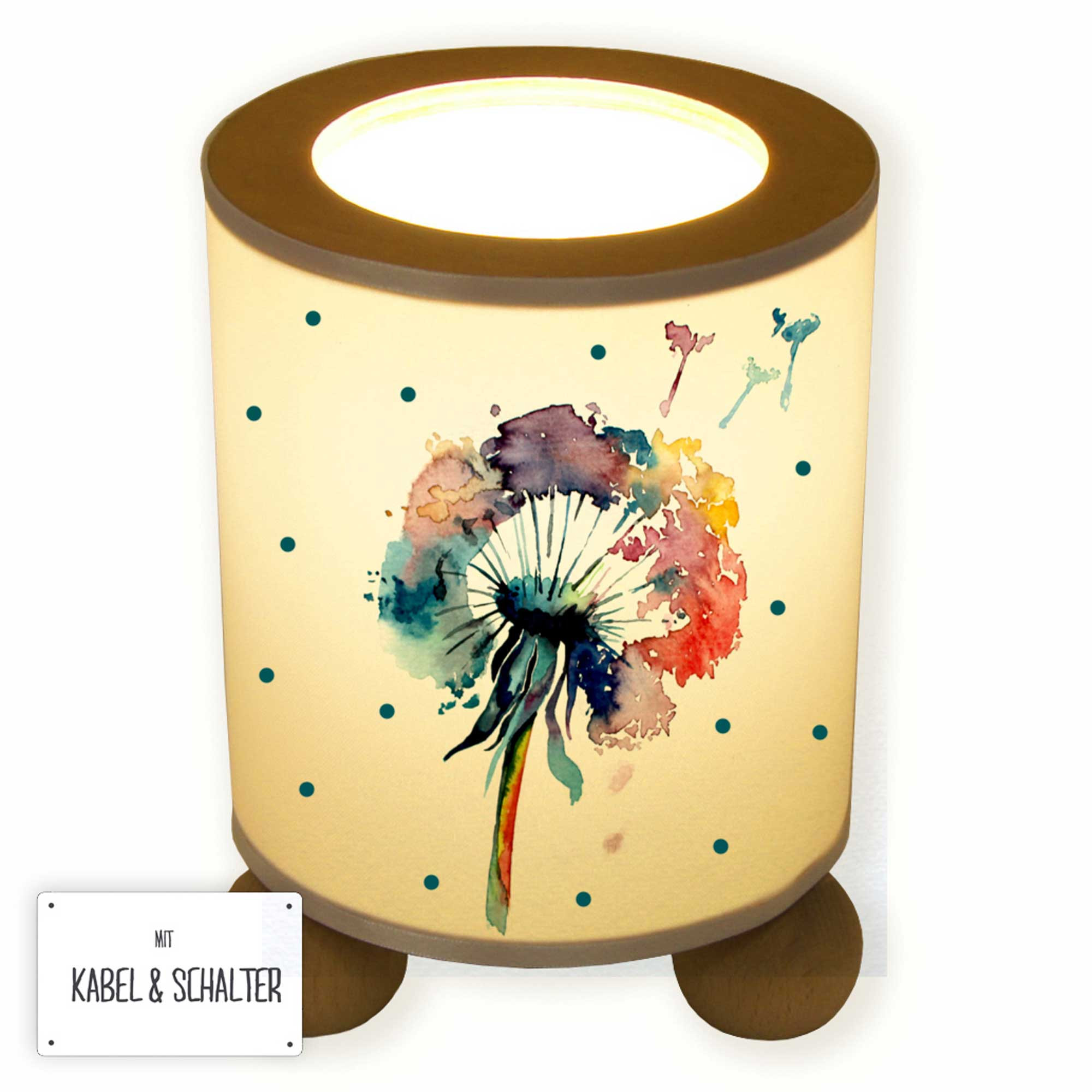 Table Lamp Dandelion Flower Watercolor With Dots Tl054 Wall Decals Bumper Sticker Murals Bags Cups Backpacks And Many More At Www Deinewandkunst Com