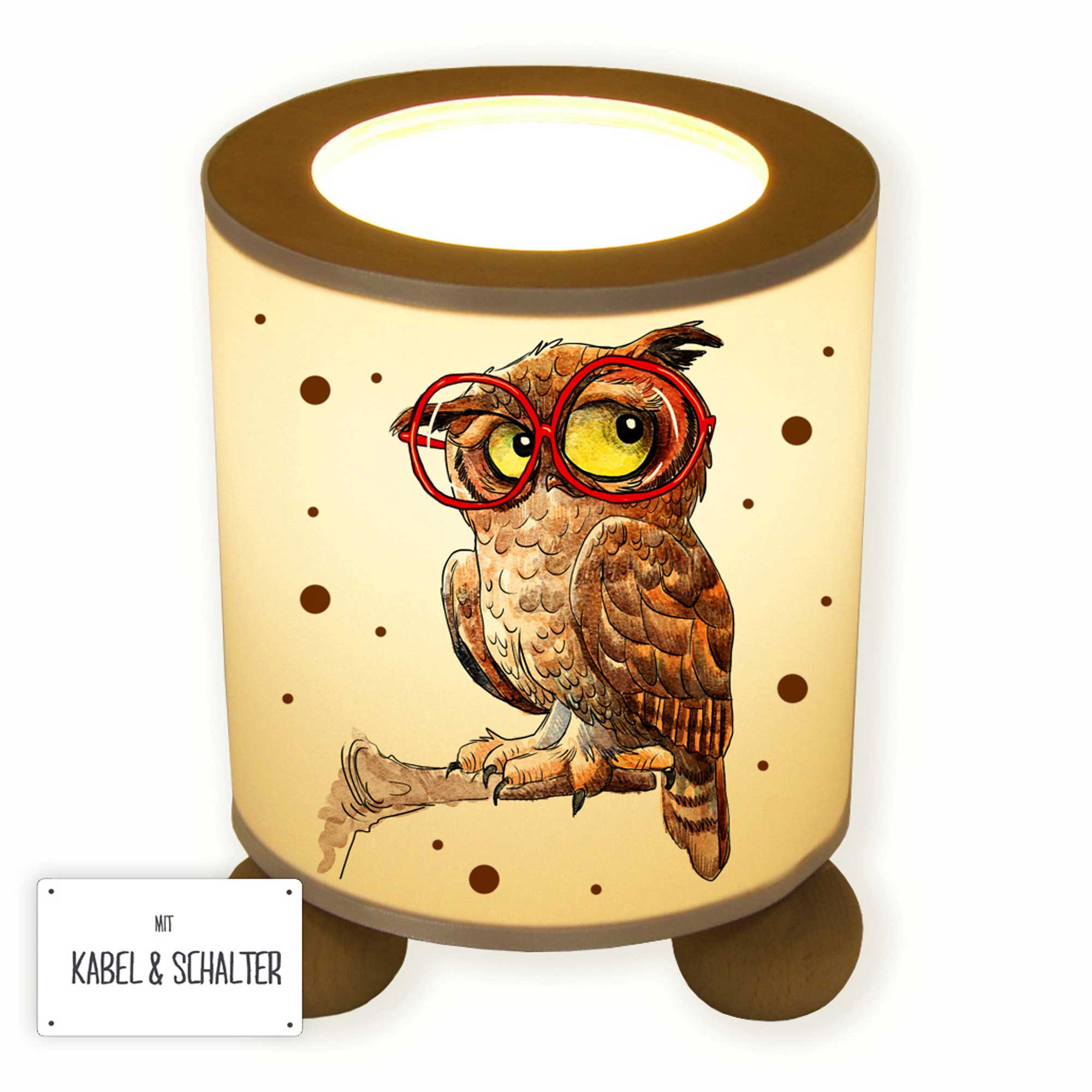 Lampe Ast Table Lamp Owl On Branch With Glasses And Dots Tl066 Wall Decals