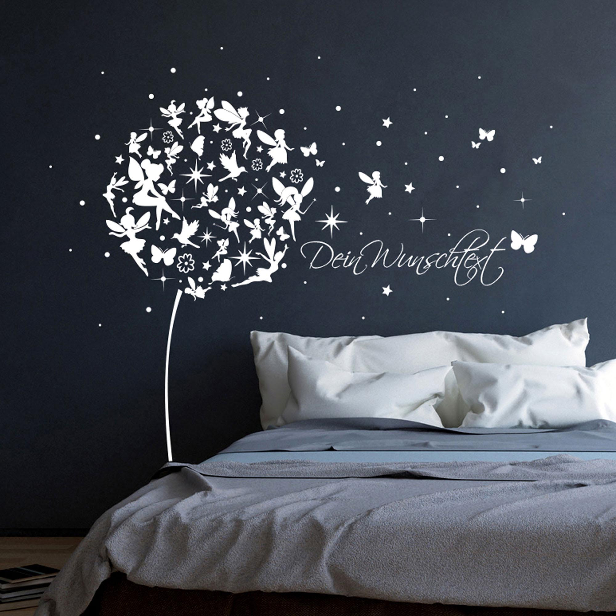 Wall Decal Dandelion With Fairy Elf Butterflies And Stars - Wandtattoo Pusteblume Spruch