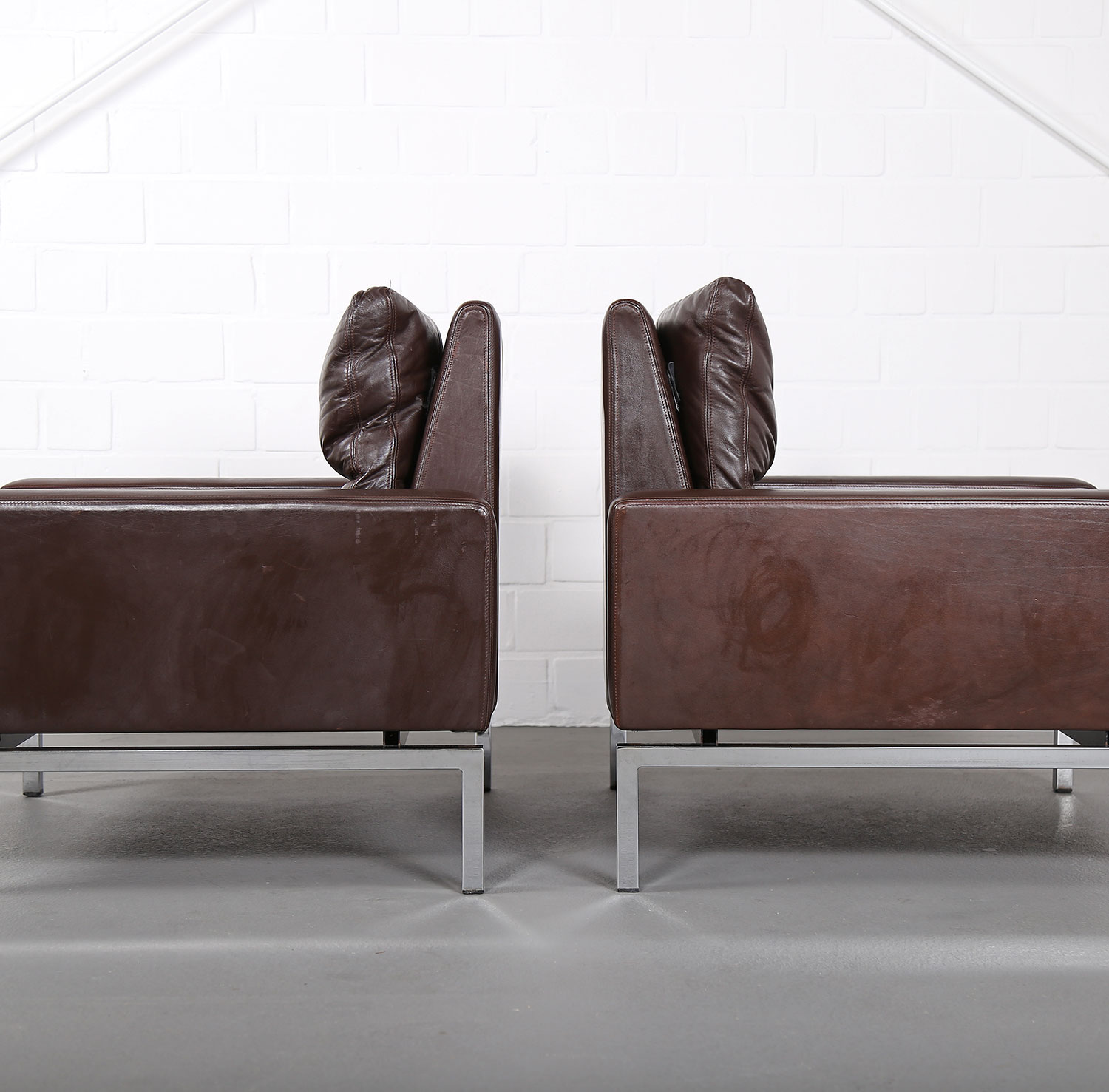 Wilkhahn Sessel Set Of Two Leather Armchairs Hans Peter Piehl For Wilkhahn