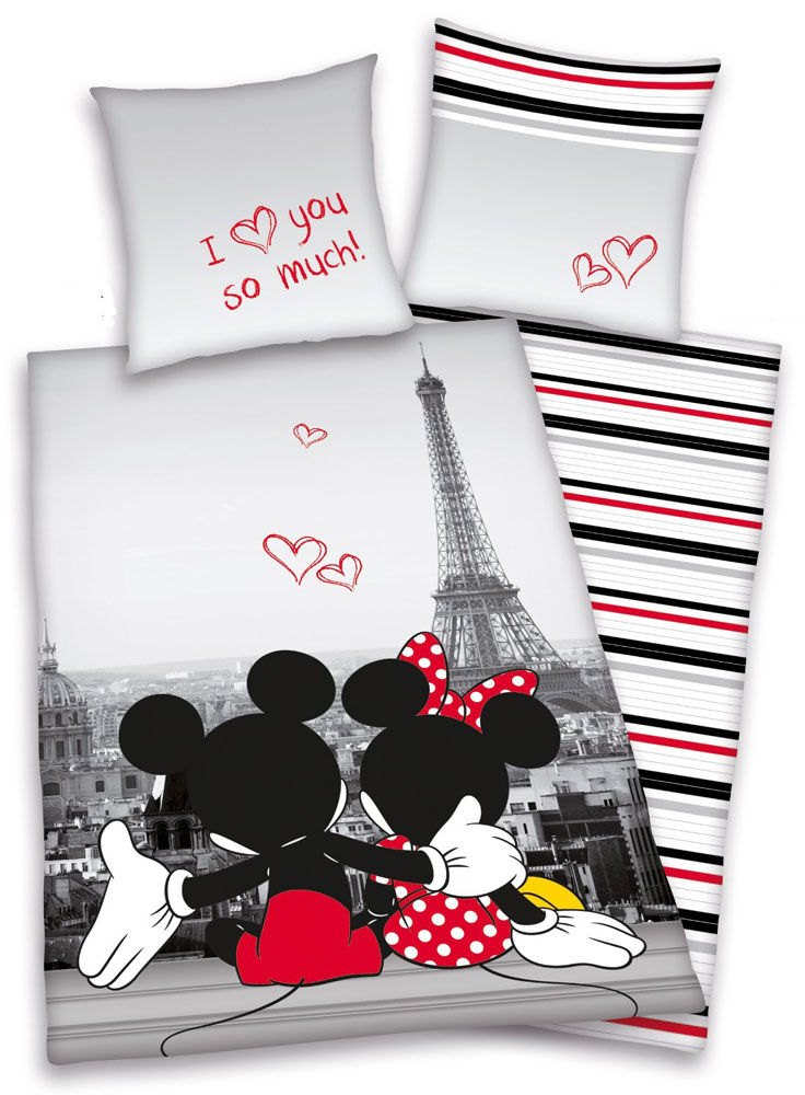 Wit Beddengoed Mickey & Minnie Mouse In Paris Dekbed