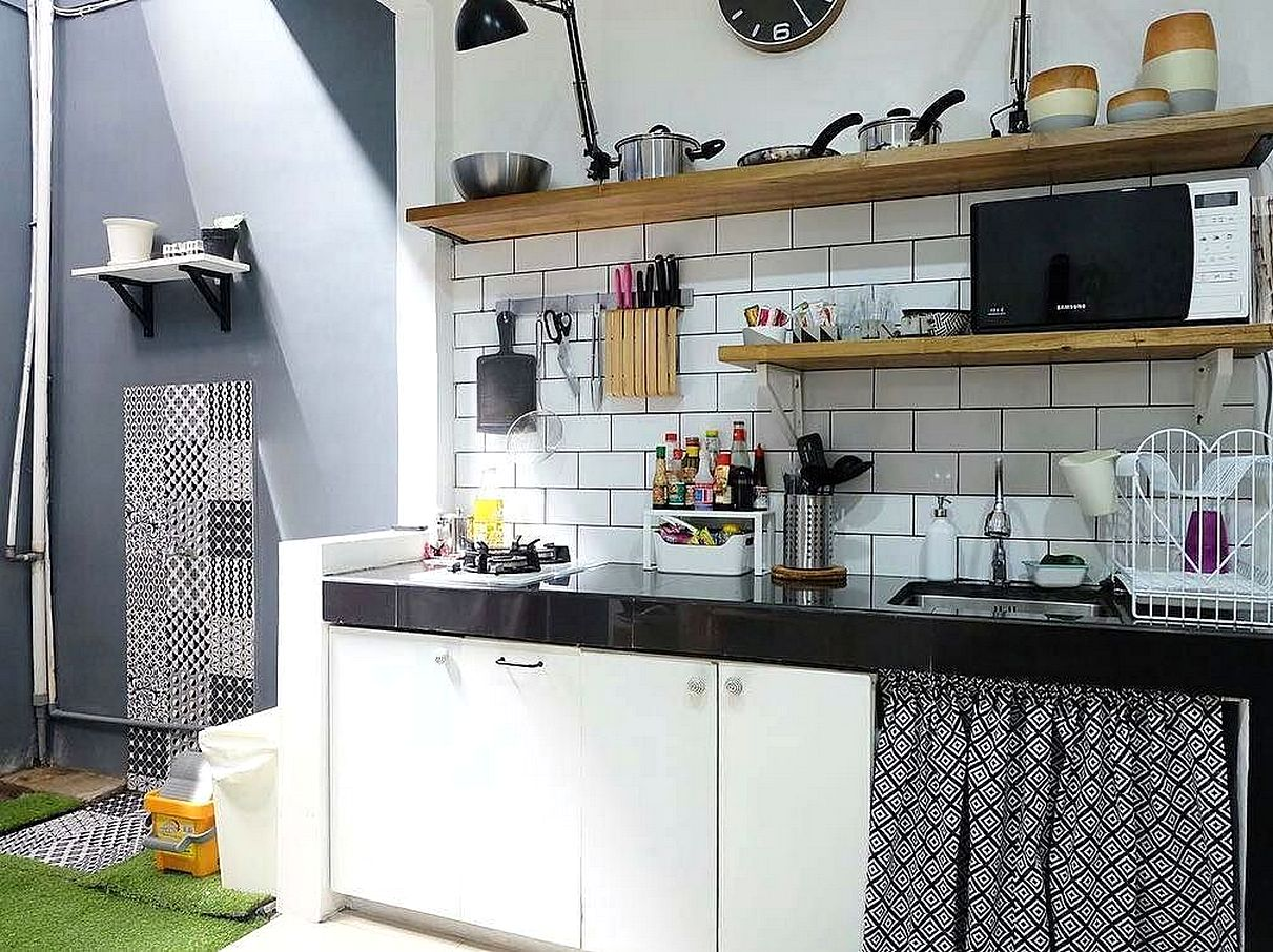 Model Keramik Dapur Terbaru Dapur Black And White | Desainrumahid.com