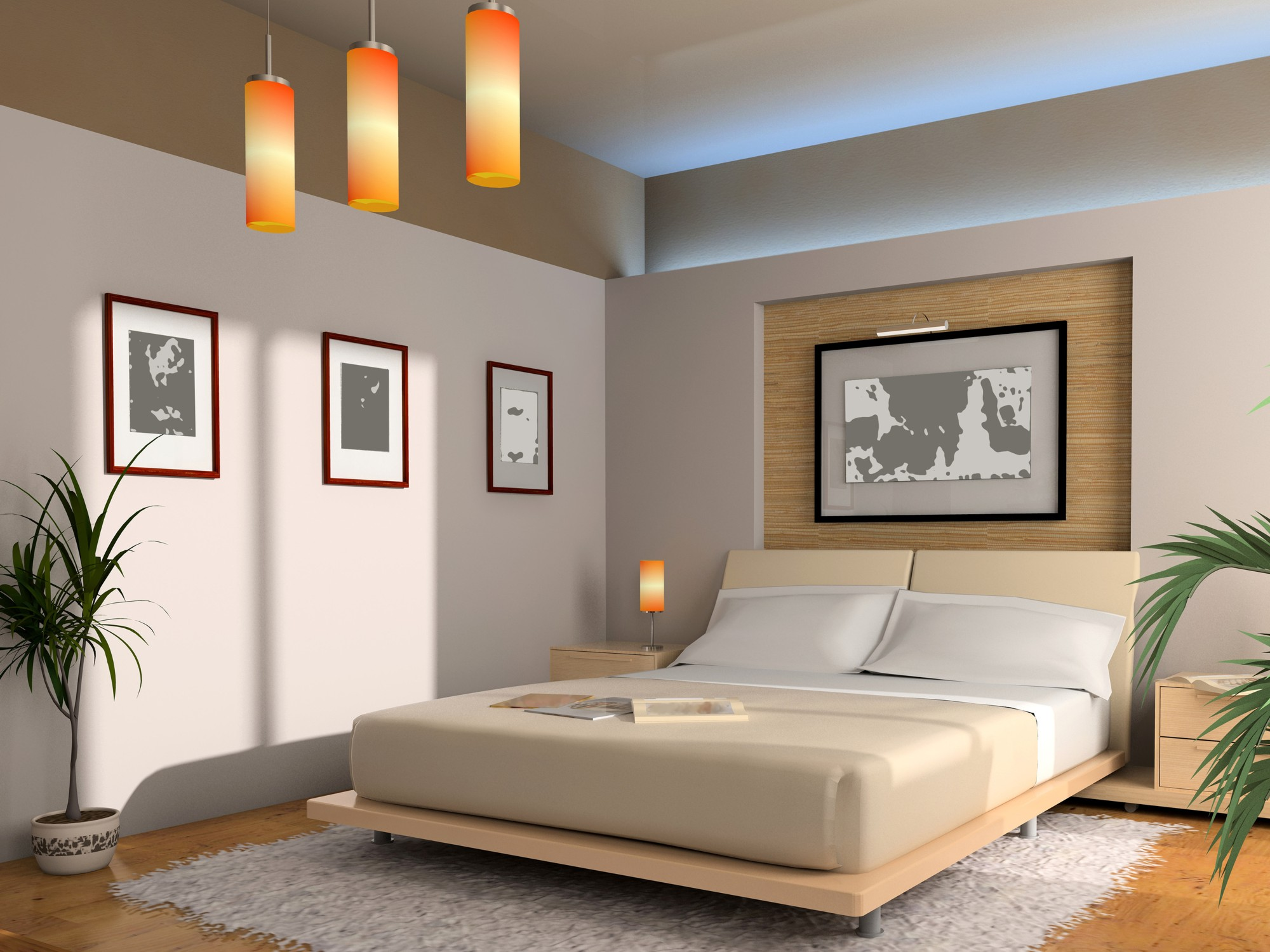 Feng Shui Schlafzimmer Farbe Erde Modern Interior Of A Bedroom With Illumination Dekorstore