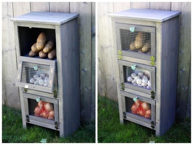 Amazing Vegetable Bin Wood Potato Bread Box Storage Rustic