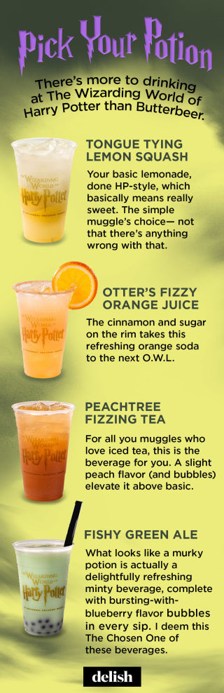 The Wizarding World of Harry Potter Food - Delish - beer menu