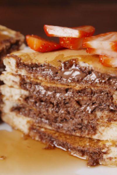 How to Make Nutella-Stuffed Pancakes - Delish.com
