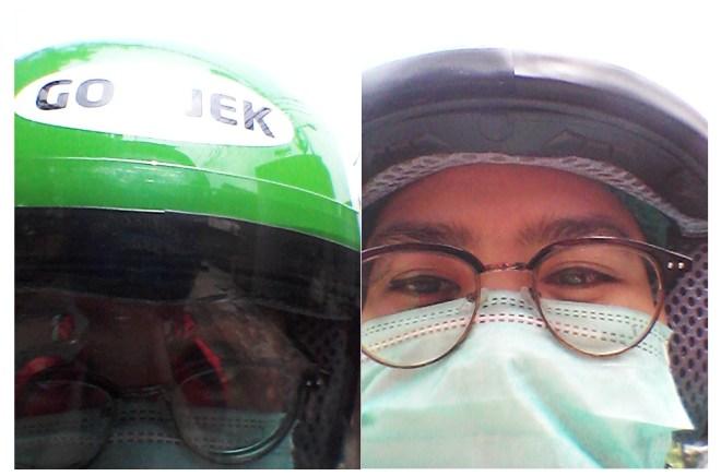 Masker dan helm Go-Jek ini kok sesuai warna kesukaanku ya? Hijau!