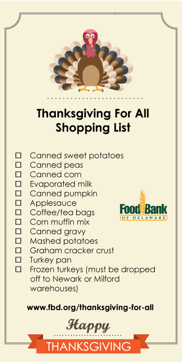delaware food drive thanksgiving
