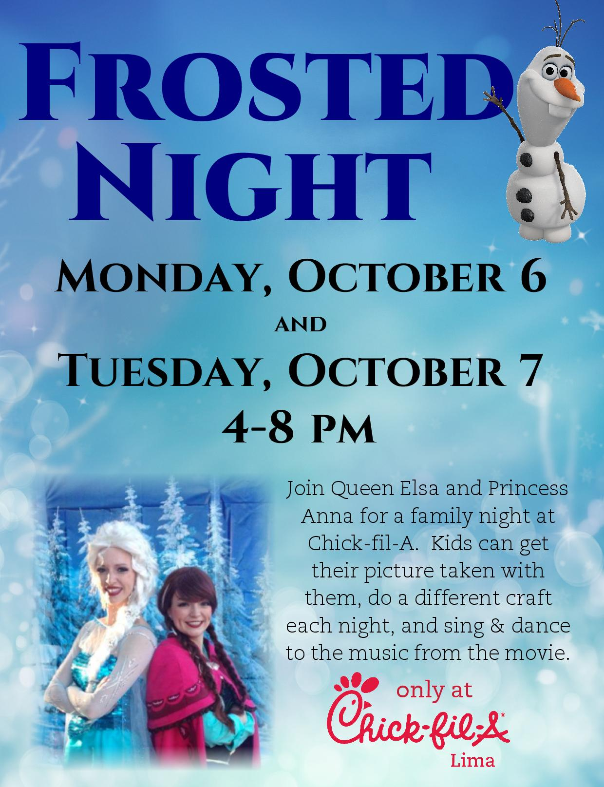 Preschool Education Music Songs Circle Time > Calendar Chick Fil A At Lima To Host Frozen Themed Fun 106 And 107