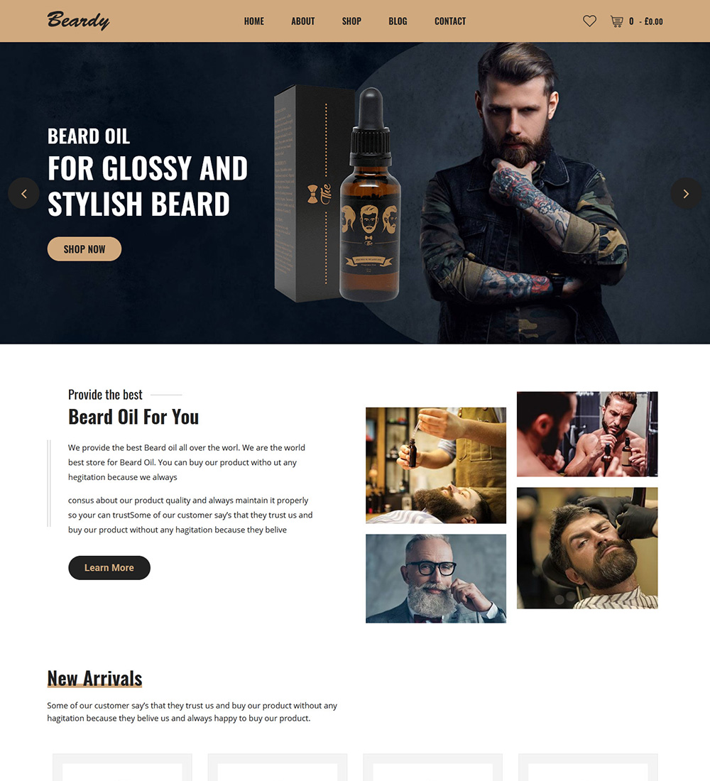 Beardy Barber Hair Salon Products Ecommerce Store Ready Made Woocommerce Website Delegate Studio