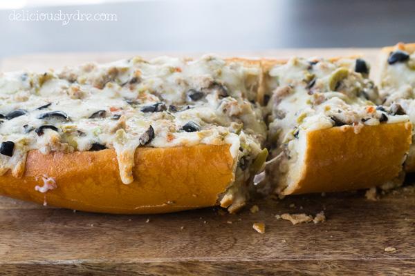 cheesy olive bread pizza