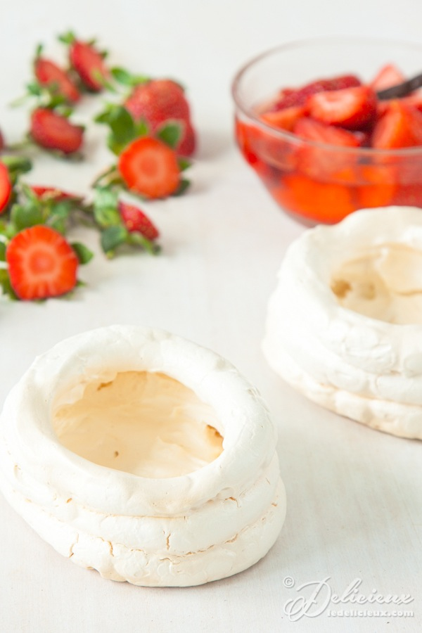 Italian meringue nests with champagne poached strawberries | deliciouseveryday.com