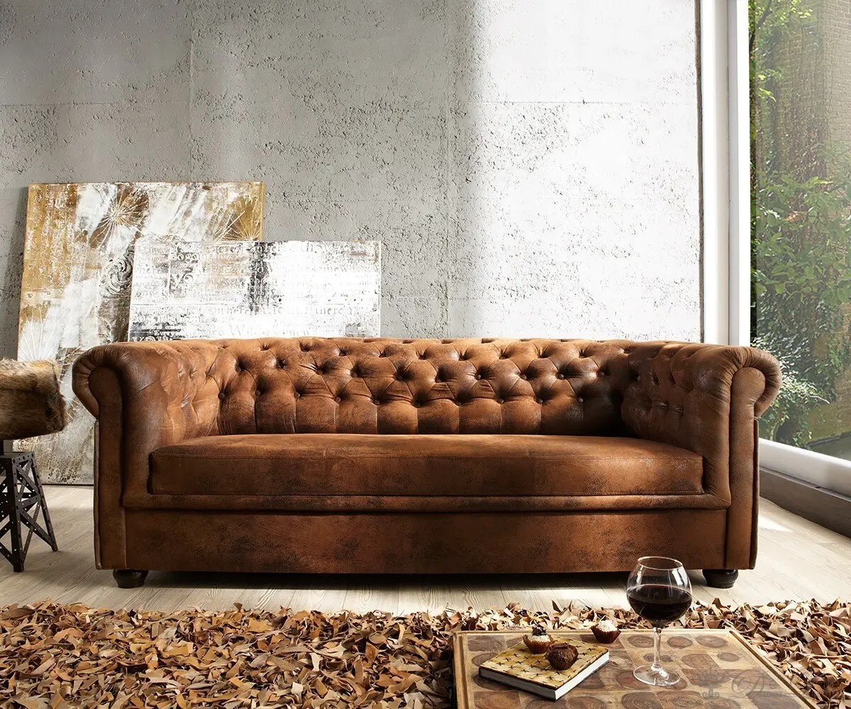 Ledersofa Anthrazit Sofa Chesterfield 200x90 Braun Antik Optik 3-sitzer Couch