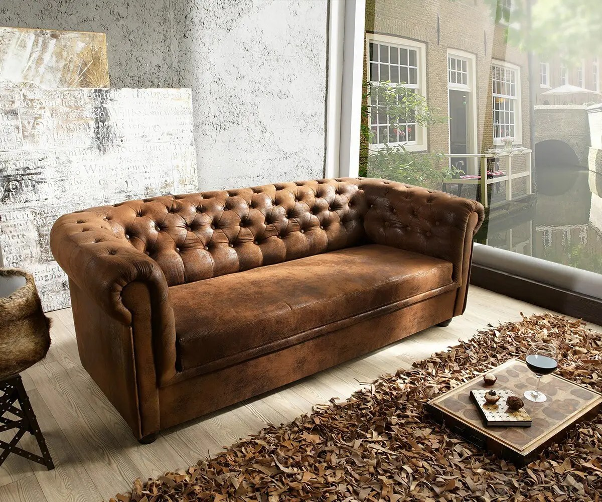 Chesterfieldsessel Sofa Chesterfield 200x90 Braun Antik Optik 3 Sitzer Couch