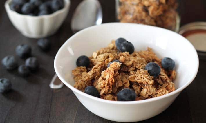 Nut Free Maple Coconut Granola Clusters - Delightful Adventures - free fact sheet