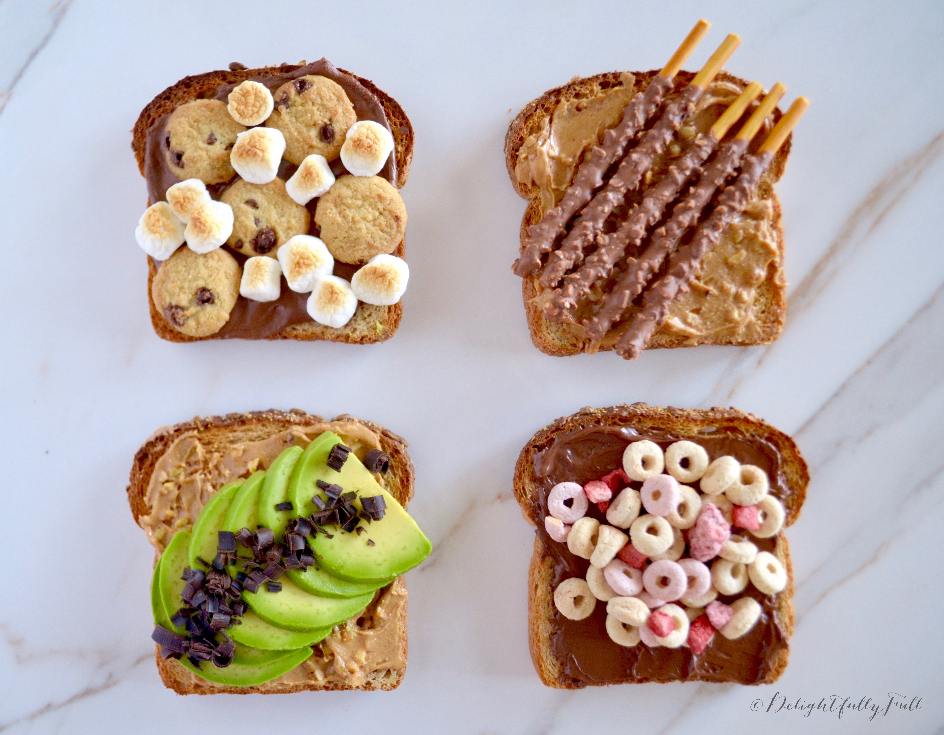 Toast with peanut butter and nutella, topped with a variety of delicious things!