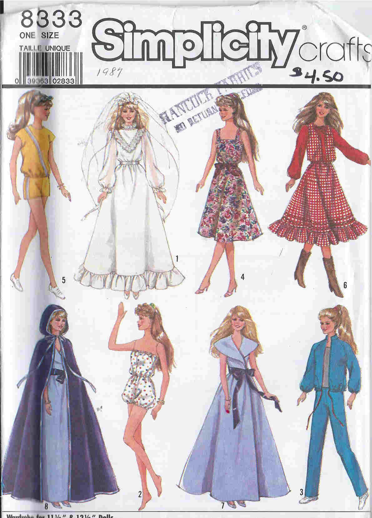 sewingpatterns dollbarbie simplicity wedding dress patterns barbie doll wedding gown veil sewing pattern larger image Simplicity