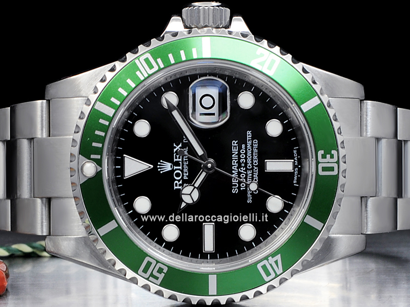 Elli Design Rolex Submariner Data Ghiera Verde 16610lv Quadrante Nero