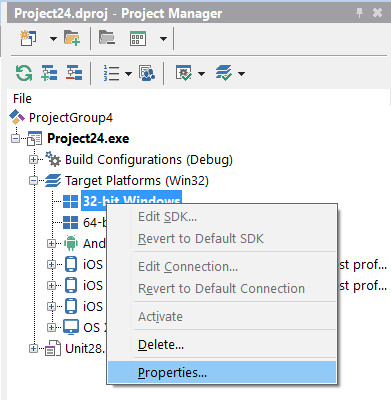 Project Manager - Platform Properties