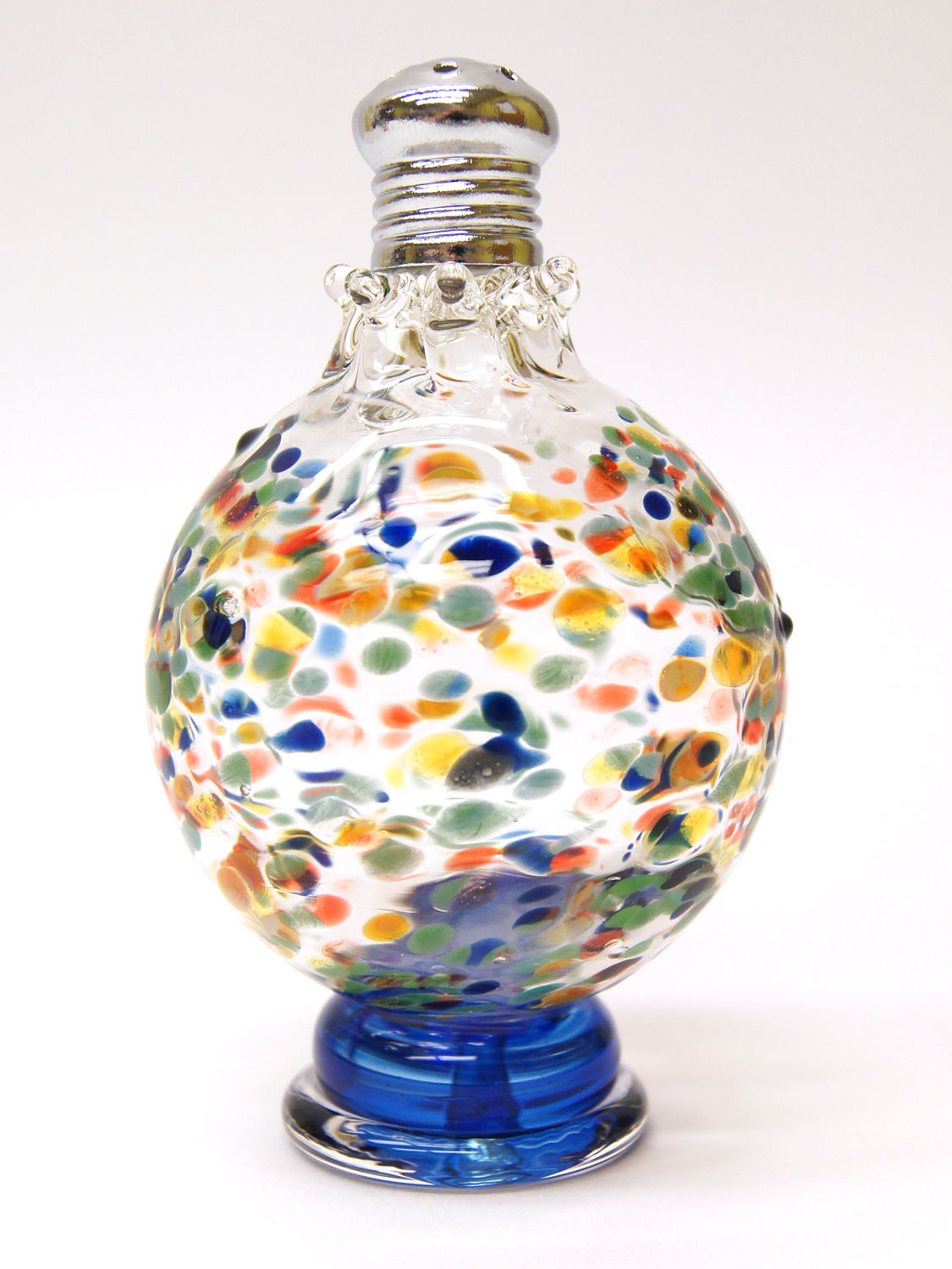 Bulleye Lamp Multi-colored Confetti Blown Glass Salt And Pepper Shakers