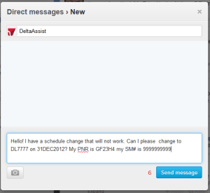 sending a twitter dm message to deltaassist