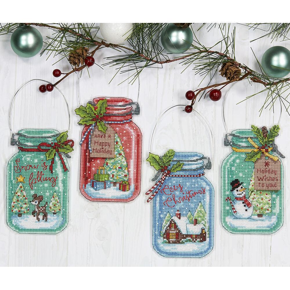 Needle arts cross stitch christmas jar ornaments counted cross stitch