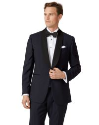 Midnight blue slim fit shawl collar tuxedo suit | Charles ...