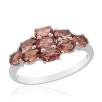 Malaya Garnet (Ovl) Ring in Platinum Overlay Sterling
