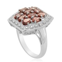 Malaya Garnet (Ovl) Diamond Ring in Platinum Overlay