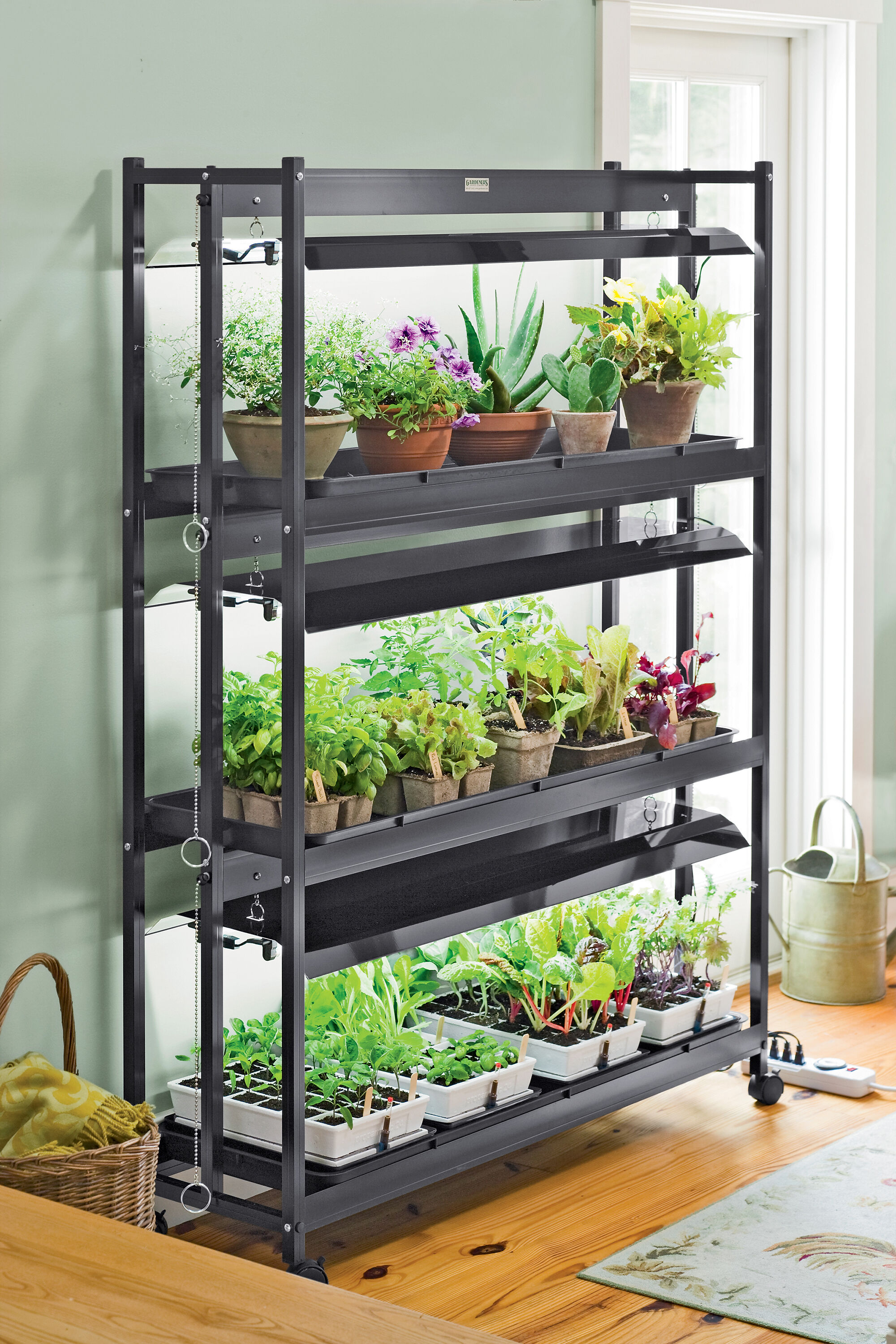 Plant Shelving Indoor Plant Grow Lights With Two Shelves Gardener 39s Supply