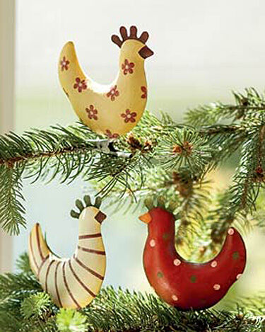Funky chicken ornaments set of 3