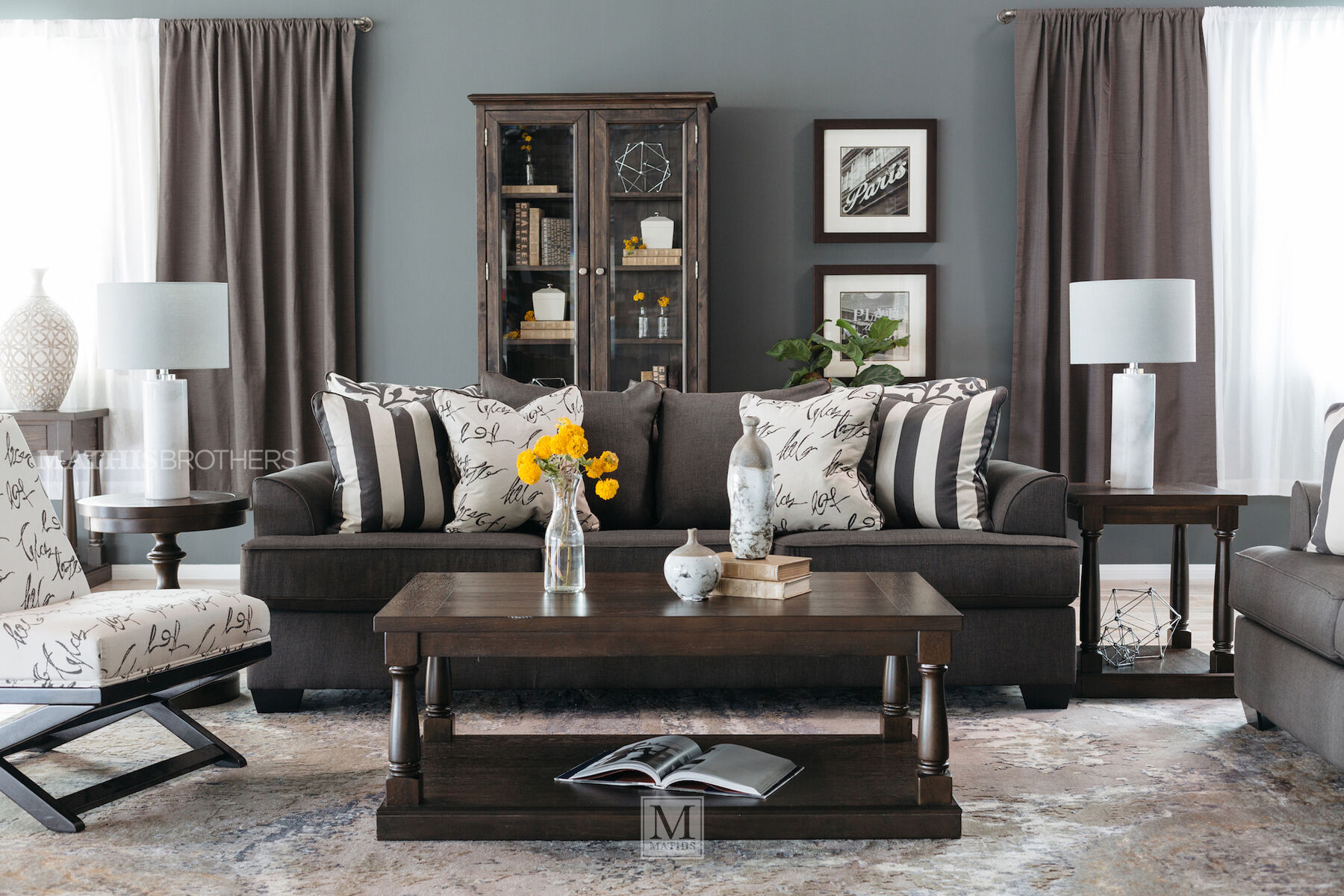 Slate Grey Living Room Levon Charcoal Sofa Mathis Brothers