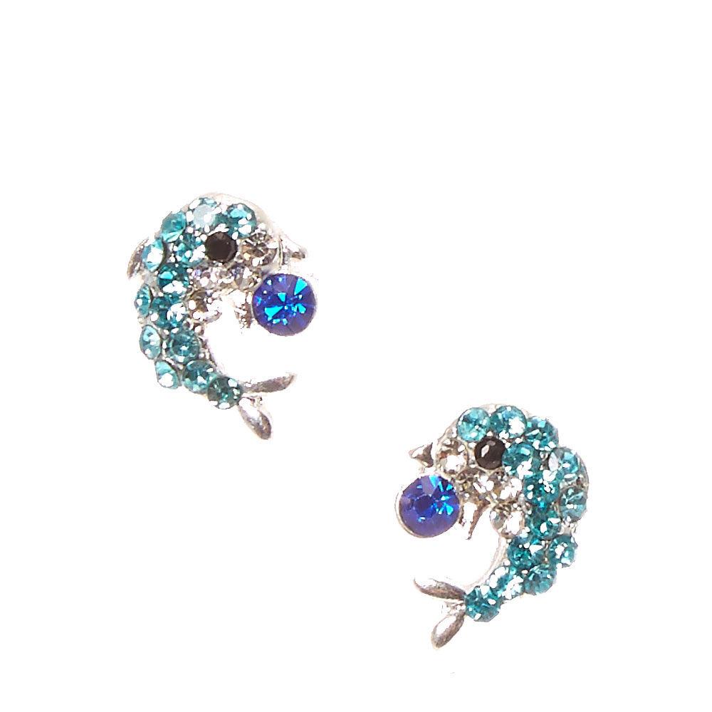 Blue Dolphin Rhinestone Stud Earrings