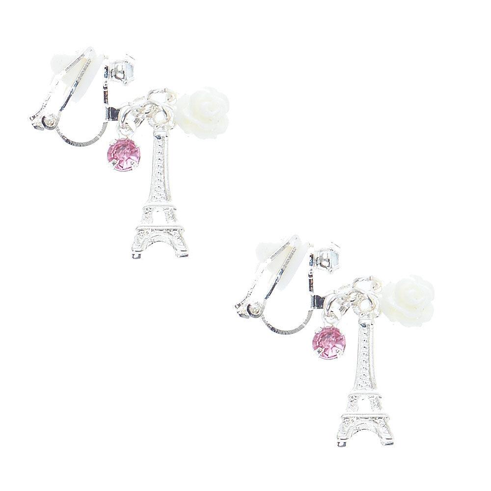 Pretty Paris Charm Clip On Drop Earrings