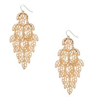 Gold Filigree Leaf Drop Earrings | Claire's CA